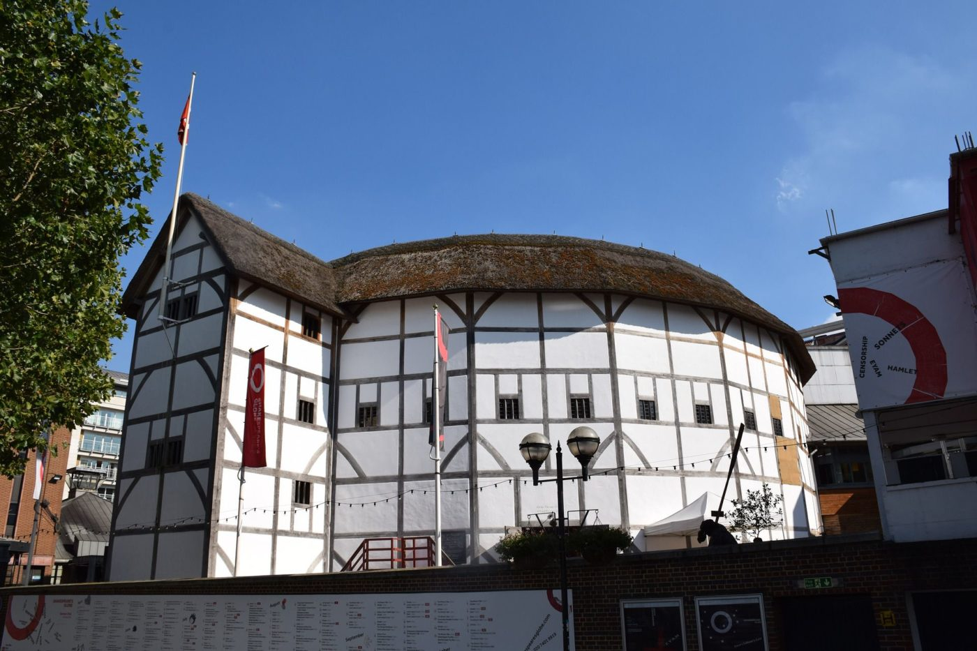 A photograph of the exterior of Shakespeare's Globe Theatre in London.
