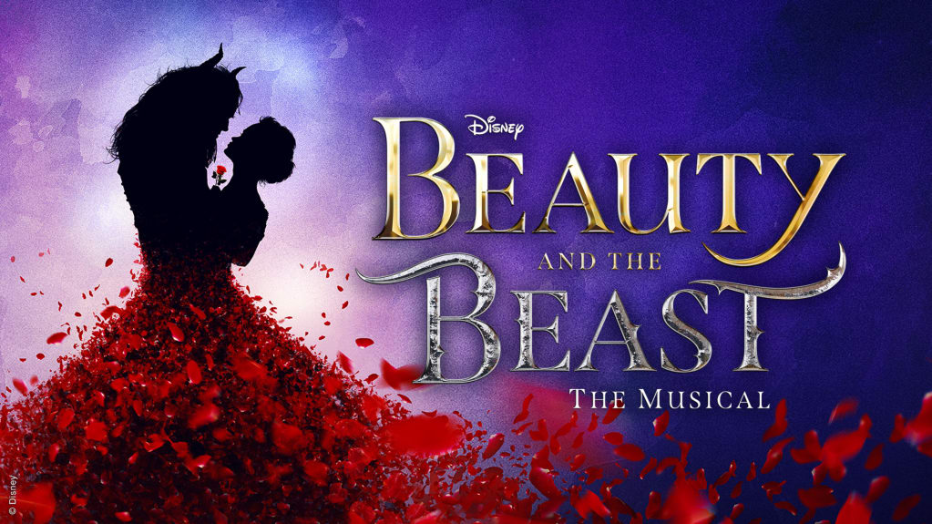 On a violet background, the silhouette of two characters: a young woman holding a red rose gazes into the eyes the beast, with flowing hair and horns. Her skirt is made of rose petals that are floating away to cover the bottom of the page. The words read Disney Beauty and the Beast The Musical.