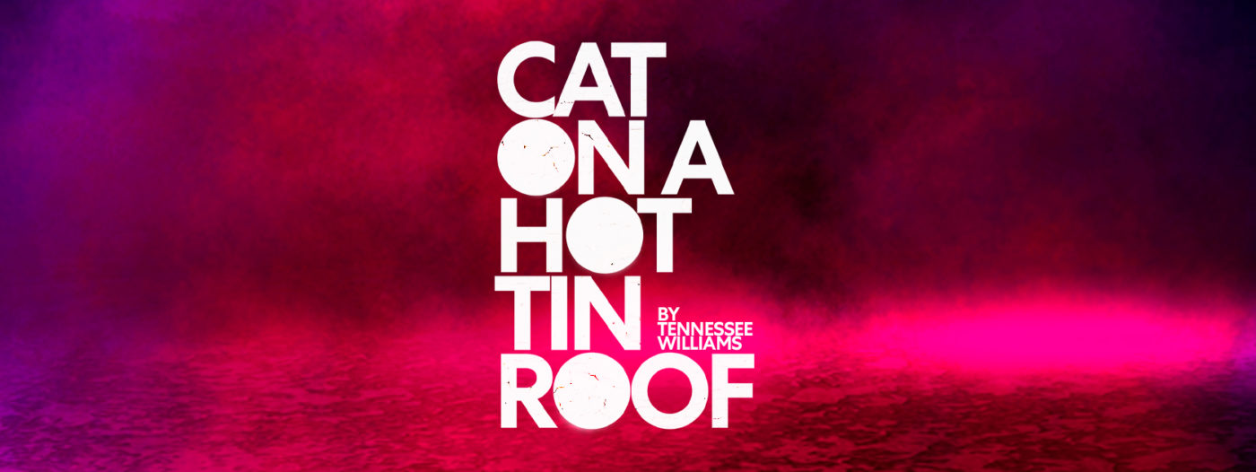 On a dramatic background swirling with purple and red clouds, the words CAT ON A HOT TIN ROOF, in white, appear to be cracking from the heat. On top of the letters of the word ROOF, it reads 'by Tennessee Williams'.