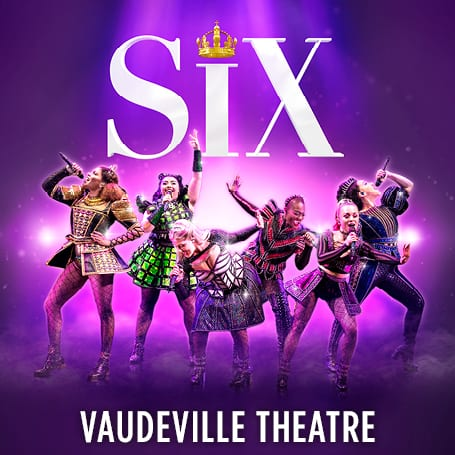 Six women perform, each wearing Tudor tops and miniskirts. They sing into microphones and strike a pose with attitude. Above them the word SIX, with a golden crown dotting the letter i.